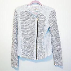 Lucky Brand Gray Metallic Tweed Moto Jacket